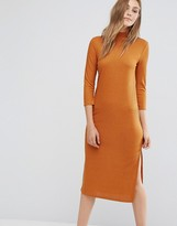 Vila High Neck Long Sleeve Midi Dress