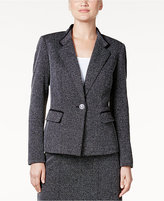 Kasper Herringbone One-Button Blazer