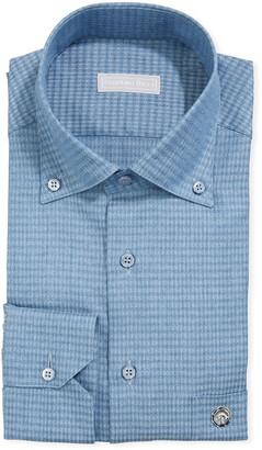 Stefano Ricci Men's Eagle Denim Gingham Dress Shirt
