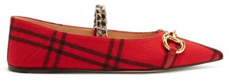 Gucci Horsebit Check-wool Point-toe Ballet Flats - Red Multi