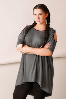 Yours Clothing Charcoal Contrast Bind Top With Cold Shoulder Cut Outs & Extreme Dipped Hem