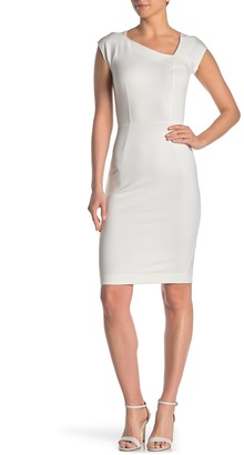 French Connection Lula Asymmetrical Neck Sheath Dress