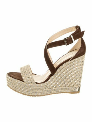 Jimmy Choo Suede Braided Accents Espadrilles Brown