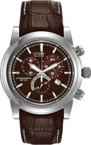 Citizen Eco-Drive Mens Brown Leather Strap Sport Watch AT0550-11X