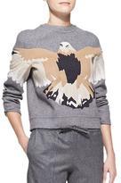 Valentino Embroidered Eagle Sweatshirt, Gray