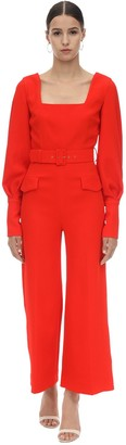 Emilia Wickstead Belted Double Crepe Long Jumpsuit