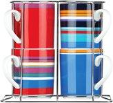 DKNY Urban Essentials Stacked Mug w/Rack, Set of 4, White - White