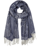 Johnstons of Elgin Blue Ornate Damask Cashmere Scarf