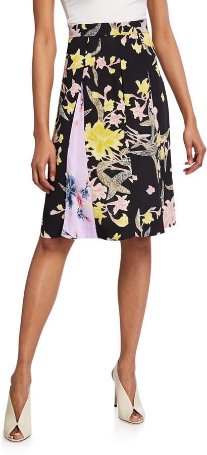 Diane von Furstenberg Opal Pleated Floral-Print Skirt