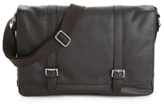 Cole Haan Double Buckle Leather Laptop Messenger Bag