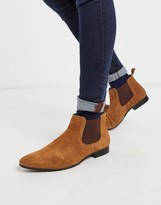 Moss Bros Moss London suede chelsea boots in tan