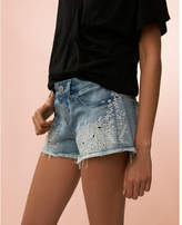 Express low rise embroidered denim cutoff shorts