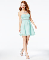 Speechless Juniors' Embellished Lace-Bodice Fit & Flare Dress