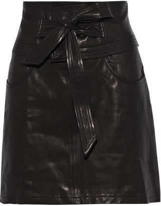 Rebecca Minkoff Callie Belted Textured-leather Mini Skirt