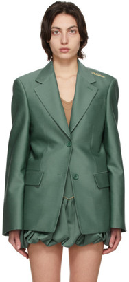we11done Green Wool Basic Blazer