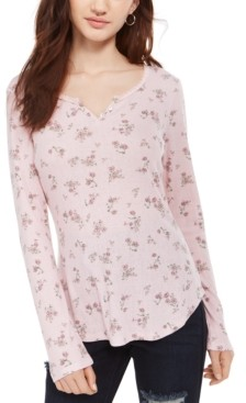 Ultra Flirt Juniors' Floral Print Pointelle Henley Top