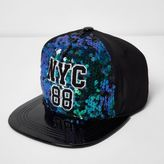 River Island Girls green and blue 'NYC' sequin cap