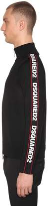 DSQUARED2 High Collar Zip Up Wool Blend Sweater