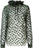 Monique Lhuillier ruffled dot detail blouse