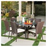 Christopher Knight Home Solomon 7pc Cast Aluminum Dining Set with Wicker Chairs - Shiny Copper + Brown