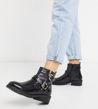 New Look wide fit croc flat PU biker boots in black