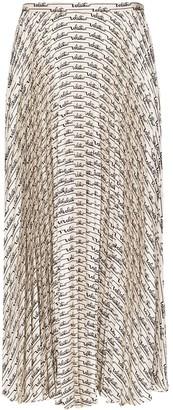 Valentino Signature print pleated midi skirt
