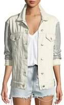 IRO Nanopo Frayed Sequined Denim Jacket
