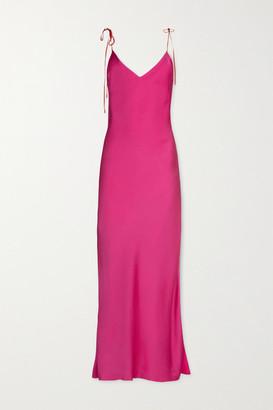Dannijo Silk-satin Midi Dress - Bright pink