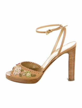 Valentino Leather Floral Print Sandals Brown