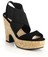 Diane von Furstenberg Deetra Banded Leather & Cork Platform Sandals