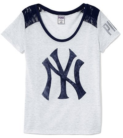 New York Yankees PINK Lace High-low Tee