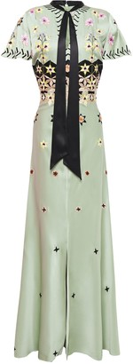 Temperley London Pussy-bow Embroidered Satin-crepe Maxi Dress