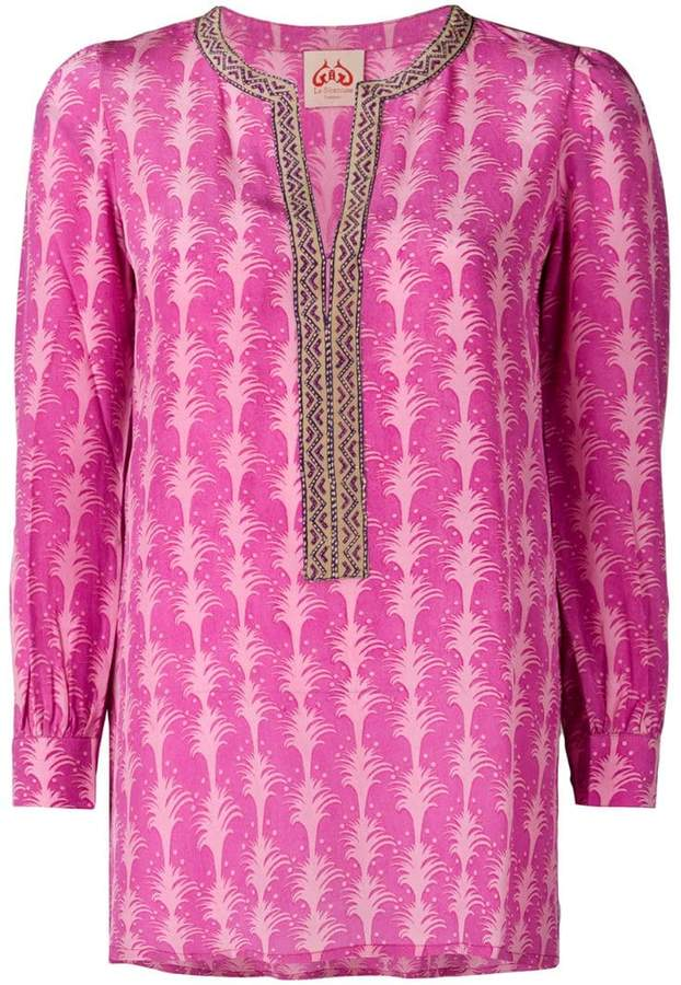 Le Sirenuse embroidered detailed tunic top