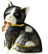 House of Fraser Royal Crown Derby Black & White Kitten Paperweight
