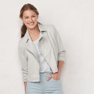 Lauren Conrad Petite Faux-Suede Moto Jacket