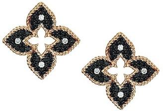 Roberto Coin Venetian Princess 18K Rose Gold, Black & White Diamond Petite Stud Earrings