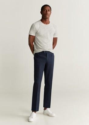 MANGO MAN - Pleated cotton linen trousers navy - 28 - Men