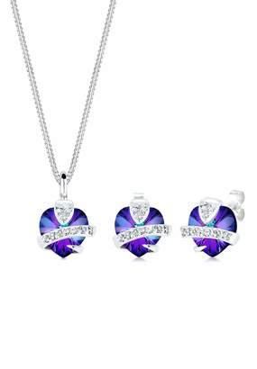 Elli Women's 925 Sterling Silver Xilion Cut Crystal Heart Jewellery Set - 45cm length