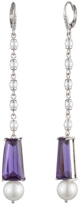 Carolee Linear Imitation Pearl Baguette Rhinestone Drop Earrings