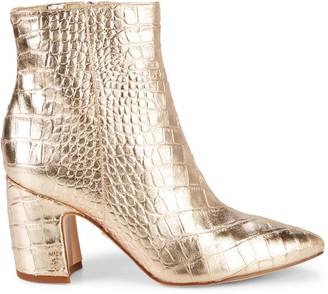 Sam Edelman Hilty 2 Metallic Croc-Embossed Leather Booties