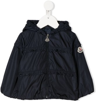 Moncler Enfant Ruffle Trim Hooded Jacket