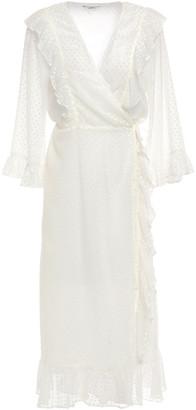 Ganni Jasmine Ruffled Swiss-dot Gauze Midi Wrap Dress