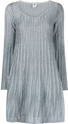 M Missoni Metallic-Threaded Long-Sleeved Ribbed Dress