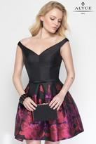 Alyce Paris - 3695 Short Dress In Black Red
