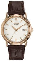 Citizen Bm7193-07b Eco-drive Leather Strap Watch, Brown/white
