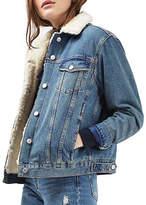 Topshop MOTO Oversized Western Denim Borg Jacket