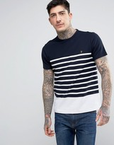Farah Hampstead T-shirt Pique Stripe Slim Fit In White