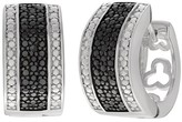 Journee Collection 1/10 CT. T.W. Round-cut Black Diamond Pave Set Huggie Hoop Earrings in Sterling Silver (LM-SI2) - Black