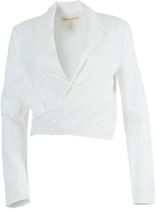 Mara Hoffman Catalina Front-tie Blazer Top White