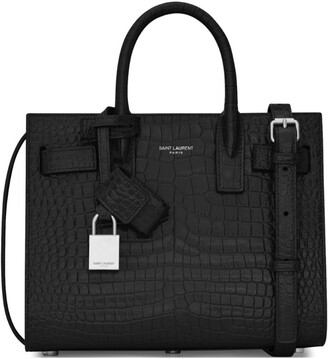 Saint Laurent Nano Sac De Jour Croc-embossed Tote Bag